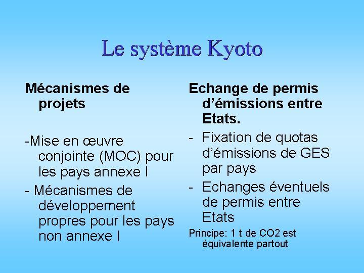 Le système Kyoto