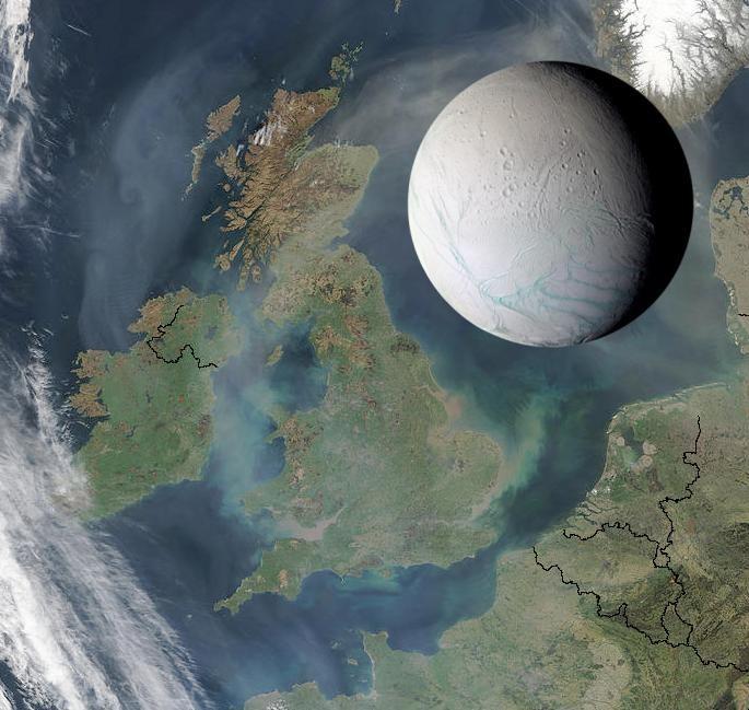 Taille comparée d'Encelade et de l'Europe du Nord-Ouest
