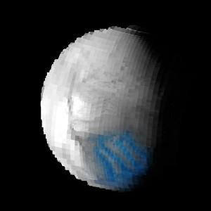 Carte de la cristallinité de la glace à la surface d'Encelade