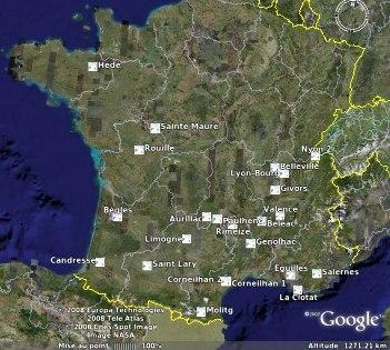 Localisation des observateurs de la météorite du 25 janvier 2008