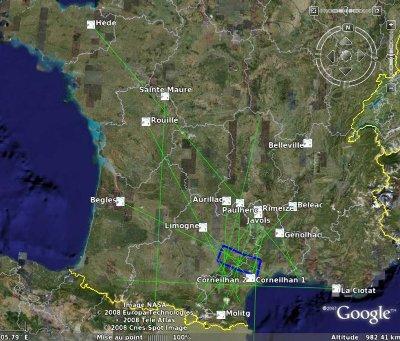 Lieu de l'impact (virtuel) de la météorite du 25 janvier 2008
