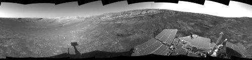 Panorama 360° pris par Opportunity, sol 171, sur les pentes internes d'Endurance