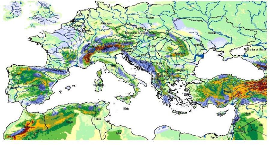 Carte des affleurements des ensembles karstiques (en bleu) autour de la Méditerranée.