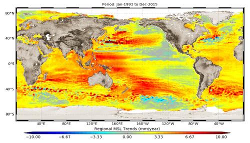 Variations régionales de l'élévation du niveau de la mer mesurées par altimétrie satellitaire sur la période 1993–2015