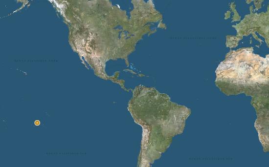 Localisation de l'archipel des Tuamotu (Polynésie Française), au milieu du Pacifique
