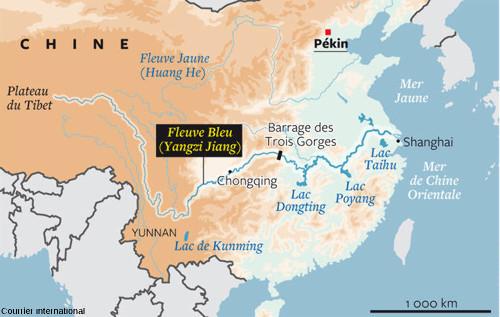 Localisation du barrage des Trois-Gorges sur le fleuve Yang-Tsé-Kiang (ou Yang-Tsé, ou Fleuve Bleu), en Chine