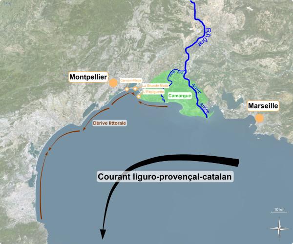 Aperçu du contexte sédimentaire et courantologie du littoral languedocien