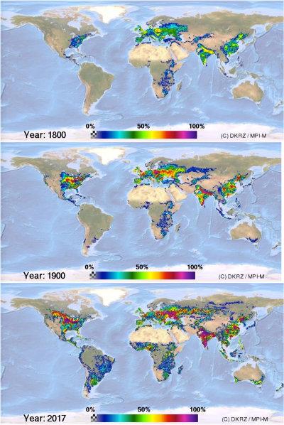 Usage des sols par les terres cultivées (hors terres pâturées) en 1800 (1 milliard d'êtres humains), 1900 (1,6 milliards), 2017 (7,5 milliards)