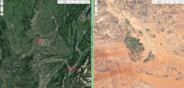 Artificialisation de terres désertiques et irrigation en pivot en Arabie Saoudite, échelle de la zone observée