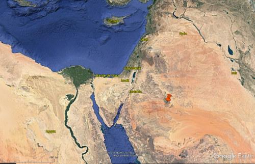 Localisation de la zone irriguée en pivot observée en Arabie Saoudite