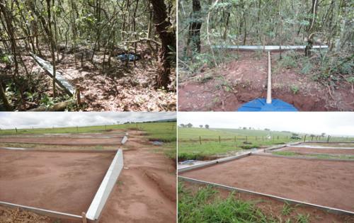 Dispositif expérimental permettant de comparer les taux d'érosion entre un sol de savane (cerrado brésilien) et un sol nu