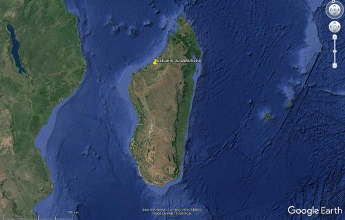Localisation de l'estuaire du Betsiboka, sur la côte Nord-Ouest de Madagascar
