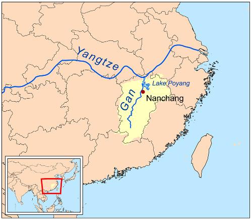 Localisation de la rivière Gan, en Chine