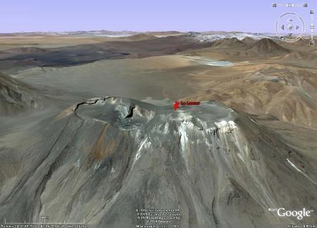 Les cratères sommitaux du Lascar (Chili) vus par Google Earth
