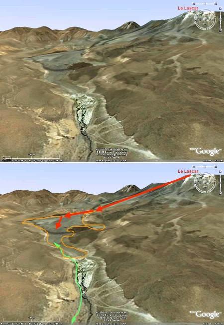 La quebrada au NO du Lascar (Chili) depuis laquelle les éruptions du 19 avril 1993 ont été photographiées.