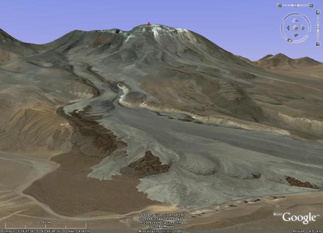 Limite latérale Nord des écoulements pyroclastiques du Lascar (Chili) suite aux éruptions d'avril 1993