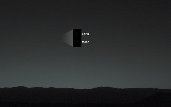 La Terre et la Lune vues par Curiosity depuis le cratère Gale, sur Mars, 31 janvier 2014