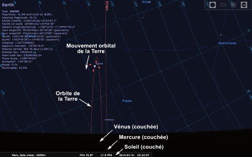 Simulation du ciel photographié par Curiosity depuis le cratère Gale au soir de son 529ème sol, le 31 janvier 2014 à 22h20 UTC