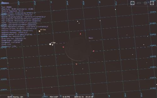 Apparence de la nouvelle Lune vue depuis la Terre au moment de la photographie de Curiosity (ici à Kourou en Guyane, au coucher du soleil local), 31 janvier 2014