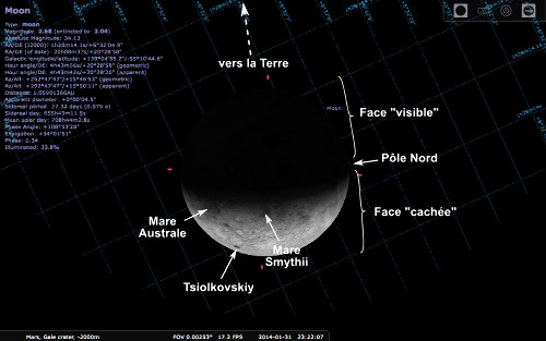 Apparence de la Lune vue depuis Mars au moment de la photographie de Curiosity, 31 janvier 2014