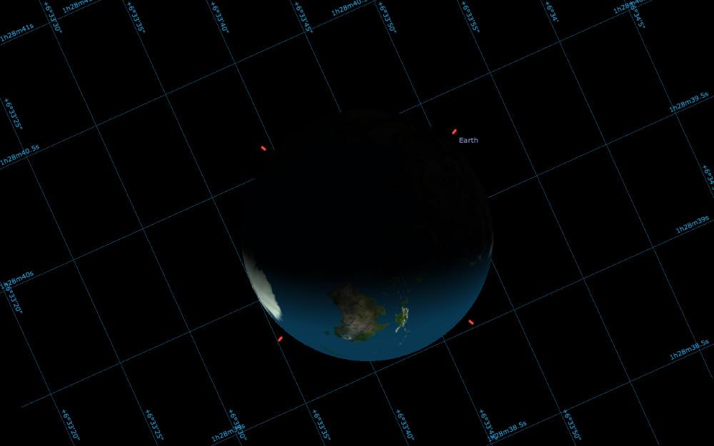 Apparence de la Terre vue depuis Mars au moment de la photographie de Curiosity, 31 janvier 2014