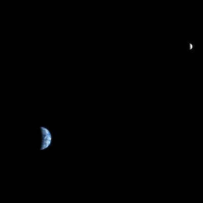 Le système Terre-Lune vu depuis l'orbite martienne par la caméra HiRISE, le 3 octobre 2007
