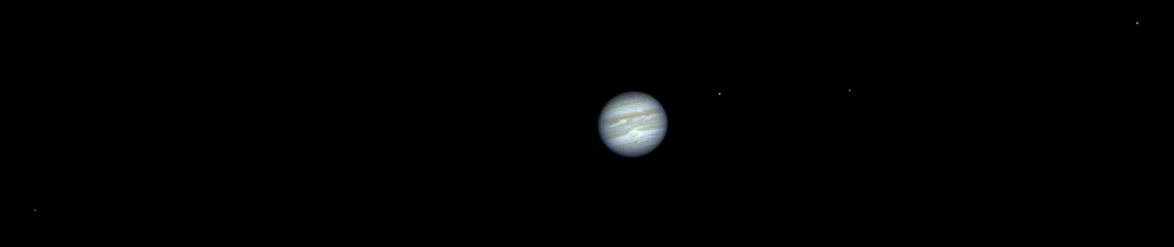 Jupiter et les 4 satellites galiléens vu depuis l'orbite martienne par la caméra HiRISE, le 3 octobre 2007
