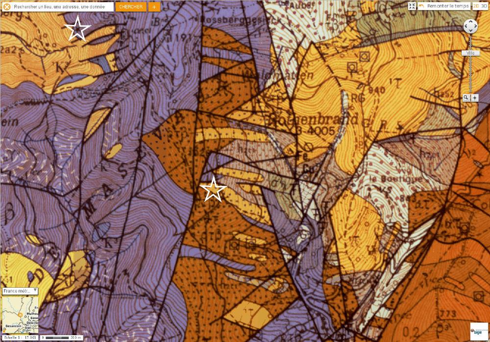 Localisation du Roosberggesick et Rocher du Corbeau sur fond de carte géologique ed Thann au 1/50000