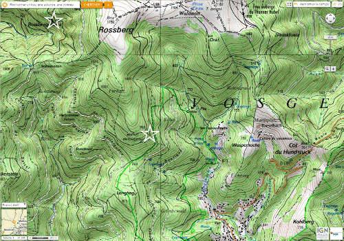 Localisation du Rossberggesick et Rocher du Corbeau sur fond topographique