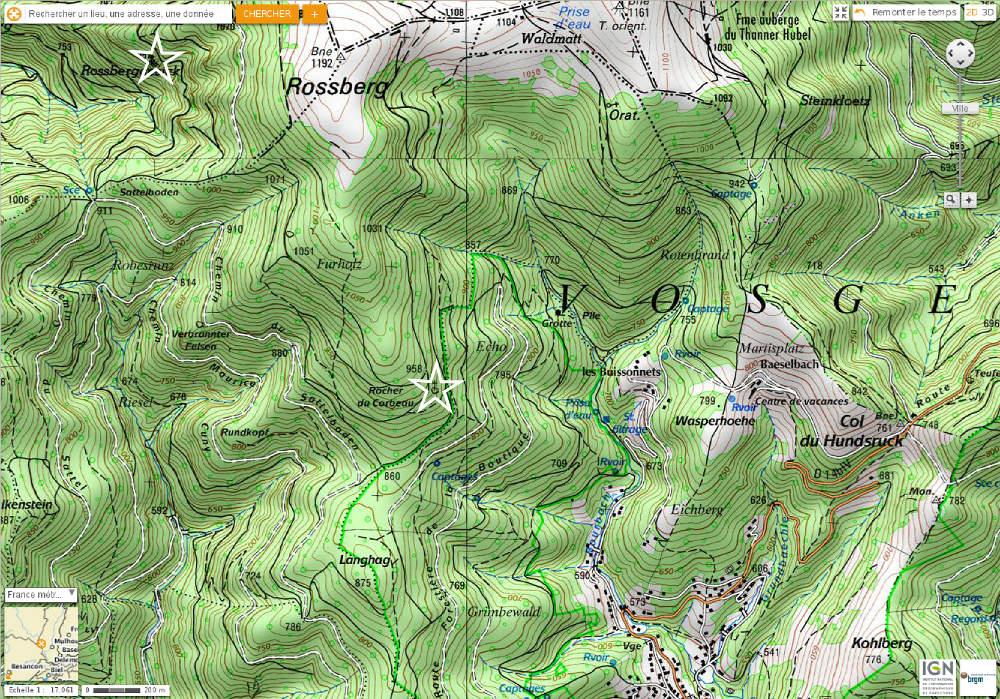 Localisation du Roosberggesick et Rocher du Corbeau sur fond topographique