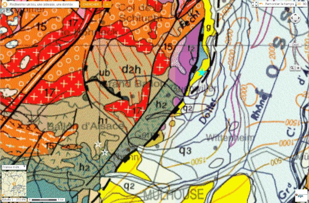 Roosberggesick et Rocher du Corbeau sur fond de carte géologique au 1/1000000
