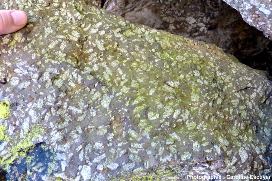Bloc de «porphyre vert antique» au pied du Rocher du Corbeau