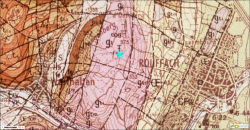 Extrait de la carte géologique de Neuf-Brisach Obersaasheim au 1/50000
