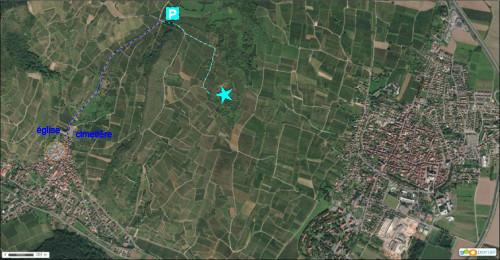 Accès à la carrière du Strangenberg depuis Westhalten sur fond d'image aérienne