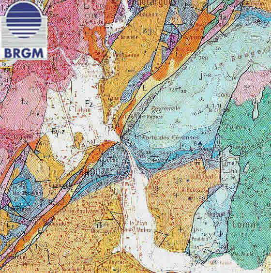 Détails de la carte géologique d'Anduze ( 1/50 000)
