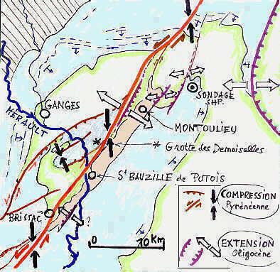 Carte structurale schématique du Bassin de Montoulieu.