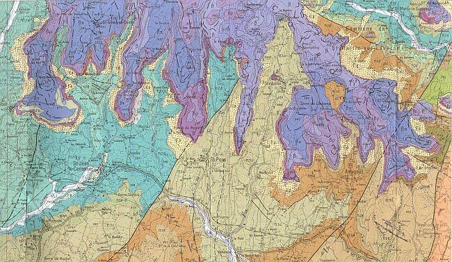 Carte géologique d'Aubenas au 1/50.000
