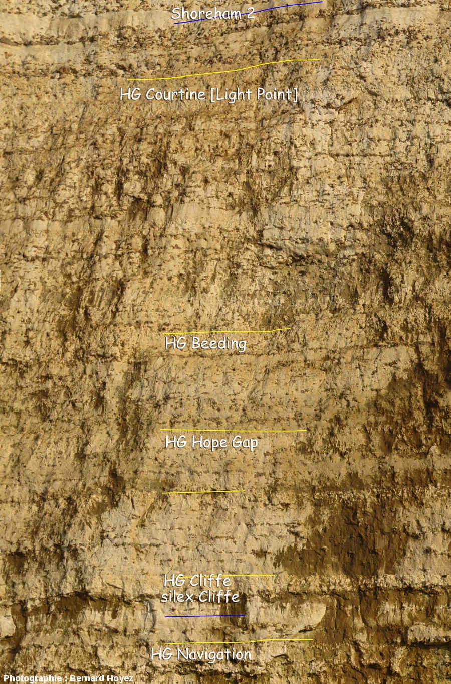 Cap Belval Sud-Ouest, tiers inférieur de la falaise, le Coniacien inférieur