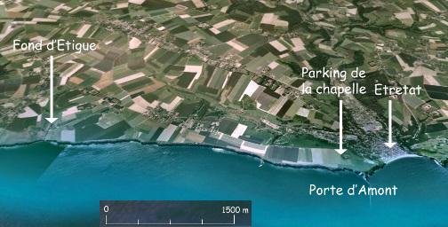 Vue oblique de la section de falaise étudiée