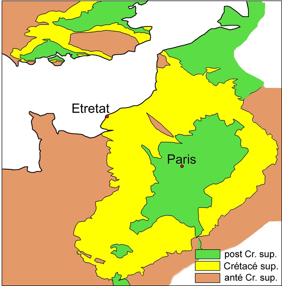 Schéma cartographique montrant l'extension du Crétacé supérieur