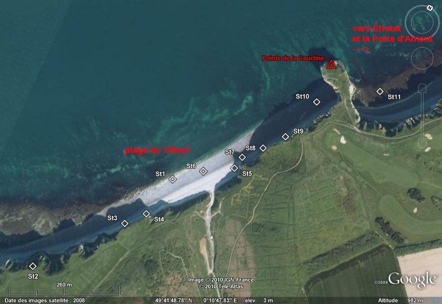 Localisation des stations 1 à 11, de la plage du Tilleul à l'Anse de la Valaine