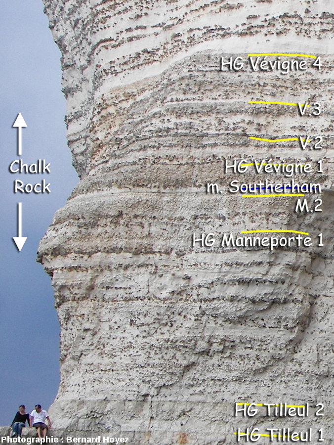 Le Chalk Rock, paroi Sud-Est de la Manneporte
