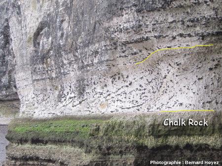 Stratification oblique dans la couche de craie slumpée, Trou-à-l'Homme
