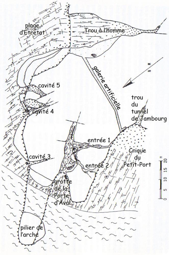 Cavité karstique du Trou-au-Chien, Porte d'Aval, Étretat