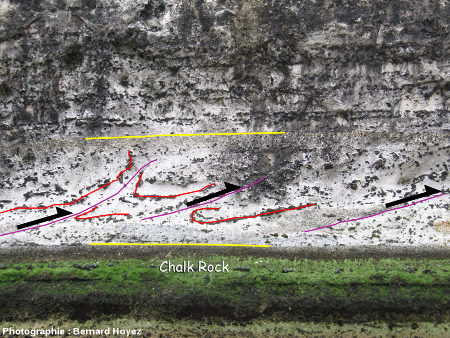 Déformations synsédimentaires dans la couche slumpée, paroi NE du massif d'Aval