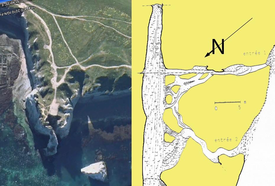 Cavité karstique du Trou-au-Chien, Porte d'Aval, Étretat)