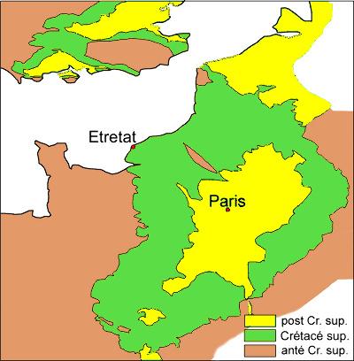 Position d'Étretat dans le Bassin de Paris