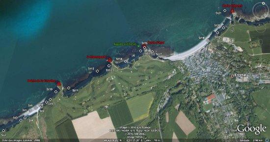 Localisation des 21 stations, de la plage du Tilleul à la Porte d'Amont