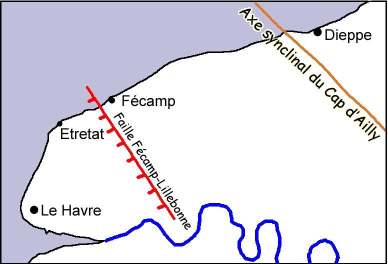Structure tectonique régionale près d'Étretat