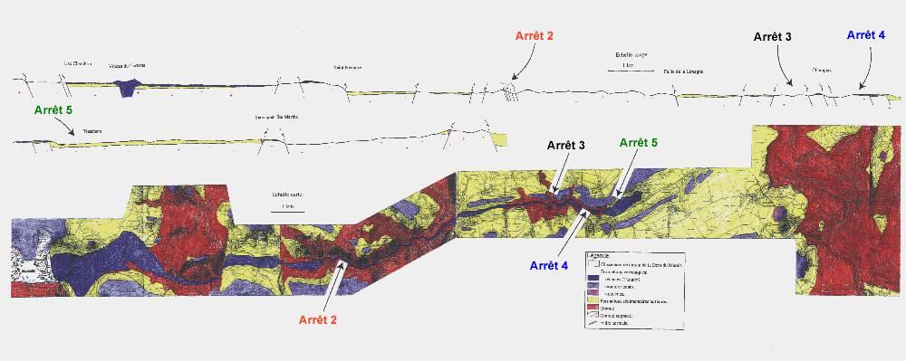 Carte géologique inédite permet de localiser les affleurements 2, 3, 4 et 5